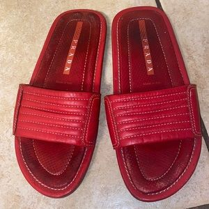 Prada slides red leather shoes
